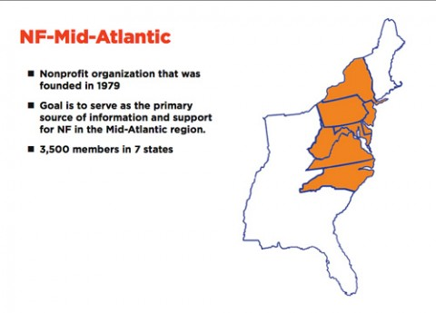 Andrew then talked about NF-Mid-Atlantic: its history, its goals, the people who are part of it and how the Design Coalition came in contact with it